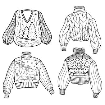 Set gebreide truien in doodle-stijl