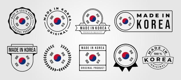 Set gebundeld gemaakt in korea label badge vector illustratie ontwerp, gemaakt in korea logo ontwerp