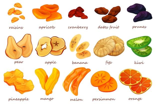 Set gedroogd fruit en bessen