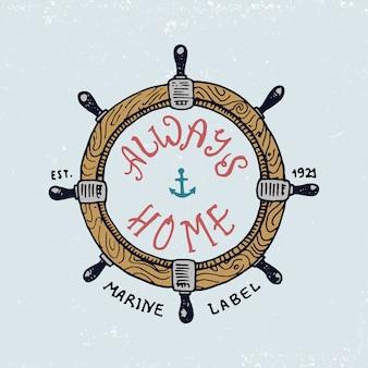 Set gegraveerde vintage, handgetekende, oude, labels of badges voor stuur. mariene en nautische of zee, oceaan emblemen. altijd thuis.