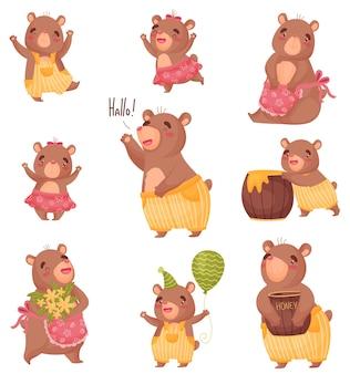 Set gehumaniseerd schattige beren met kleding
