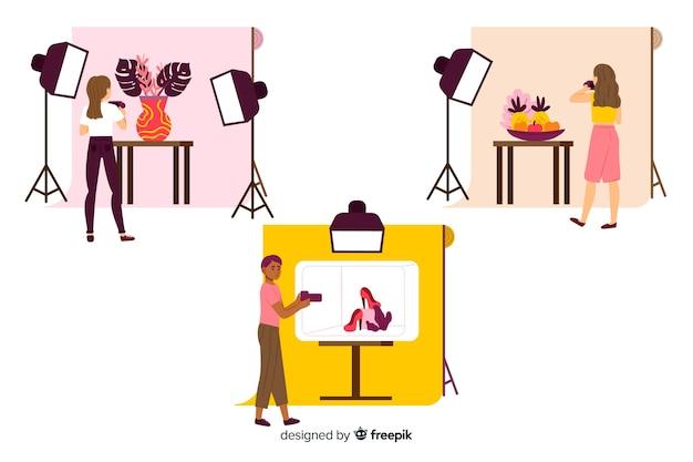 Set geïllustreerde fotografen die foto's met verschillende modellen maken