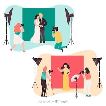 Set geïllustreerde fotografen die foto's van verschillende modellen maken