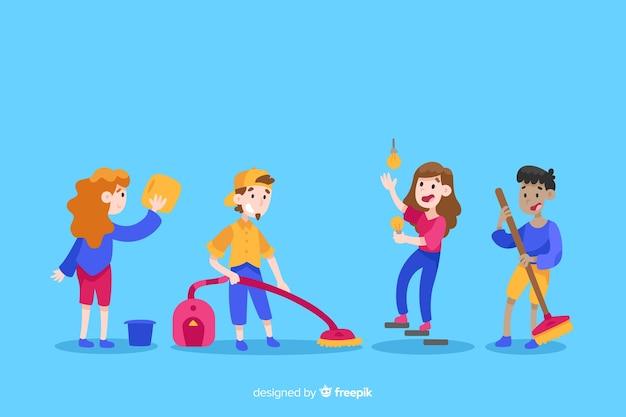 Set geïllustreerde minimalistische karakters huishoudelijk werk doen