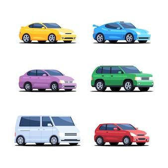 Set gekleurde auto's