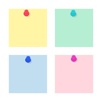 Set gekleurde blanco papieren notitiestickers vastgemaakt met push pins. collectie voor school- en kantoorbenodigdheden. platte vectorillustratie geïsoleerd op een witte achtergrond
