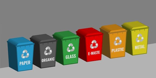 Set gekleurde containers voor het sorteren van afval. afval recycling concept.