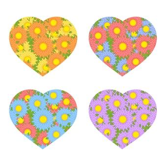 Set gekleurde geïsoleerde harten illustratie