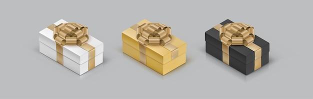 Set gekleurde geschenkdozen met strik. 3d isometrische pictogrammen.
