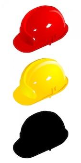 Set gekleurde helmen. vector