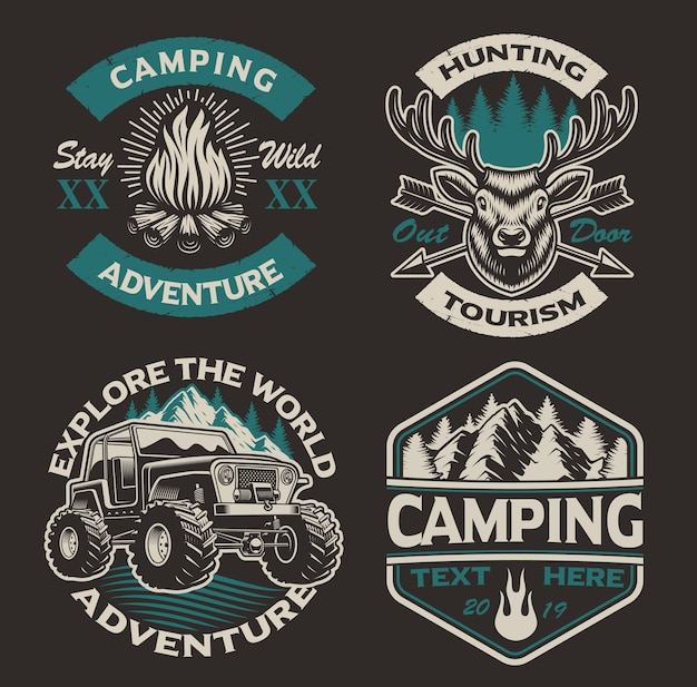 Set gekleurde logo's voor het campingthema. perfect voor posters, kleding, t-shirts en vele andere. gelaagd