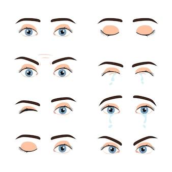 Set gekleurde mannelijke ogen en wenkbrauwen met verschillende expressie