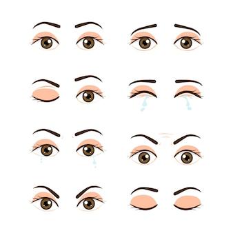 Set gekleurde mannelijke ogen en wenkbrauwen met verschillende uitdrukkingen