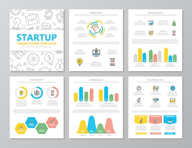Set gekleurde opstarten en zakelijke elementen voor presentatiesjabloon dia's
