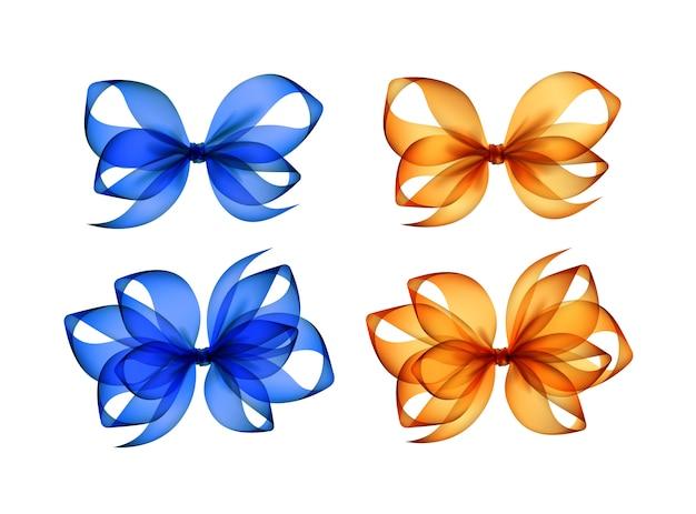 Set gekleurde oranjegele blauwe geschenkbogen
