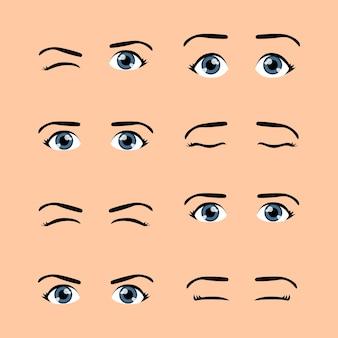 Set gekleurde schattige mannelijke ogen en wenkbrauwen met verschillende uitdrukkingen