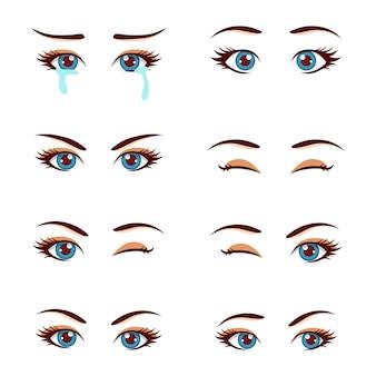 Set gekleurde schattige vrouwelijke ogen en wenkbrauwen met verschillende uitdrukkingen
