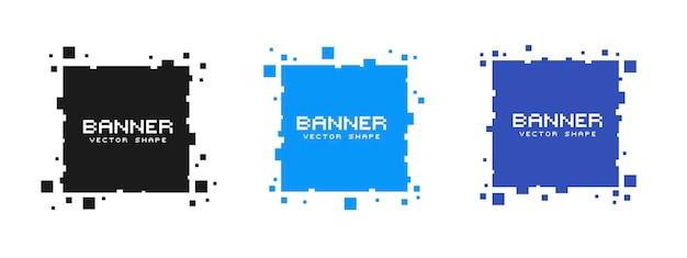 Set gekleurde vierkante pixelbanners. vector lege frames klaar voor uw tekst of ontwerp.