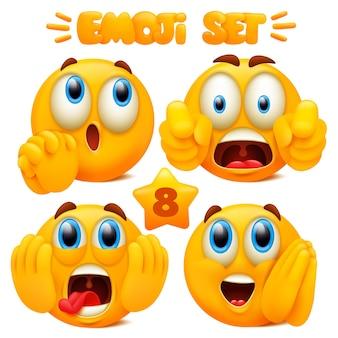 Set gele emoji stripfiguren met verschillende gezichtsuitdrukkingen in glanzend 3d