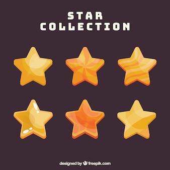 Set gele en oranje sterren