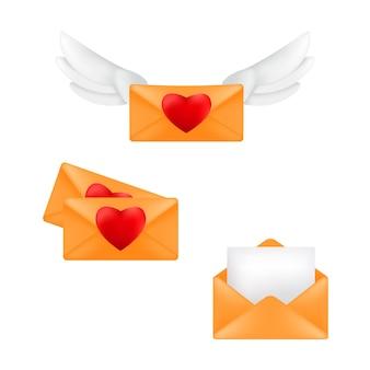 Set gele enveloppen met hart stempels en engel vleugels geïsoleerd op een witte achtergrond