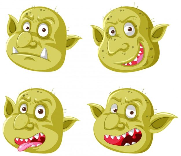 Set gele goblin of trol gezicht in verschillende uitdrukkingen in cartoon stijl geïsoleerd