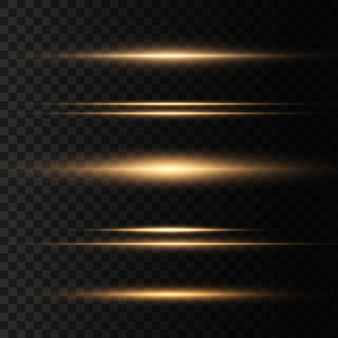 Set gele horizontale lensfakkels. laserstralen, horizontale lichtstralen.mooie lichtfakkels. gloeiende strepen op donkere achtergrond. lichtgevende abstracte sprankelende bekleed achtergrond.