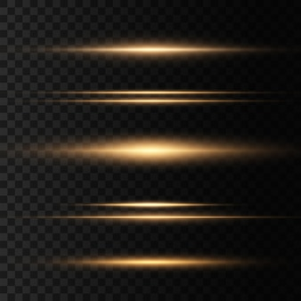 Set gele horizontale lensfakkels