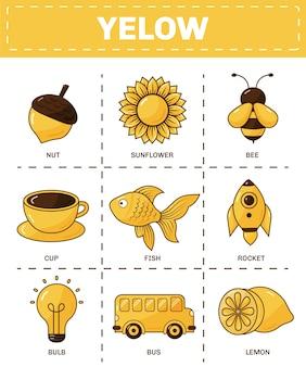 Set gele objecten en woordenschatwoorden in het engels
