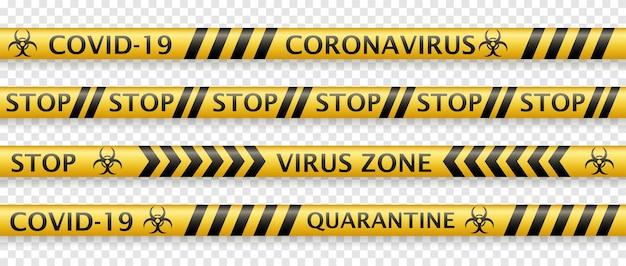 Set gele ontwerpen voor coronavirus-veiligheidstape