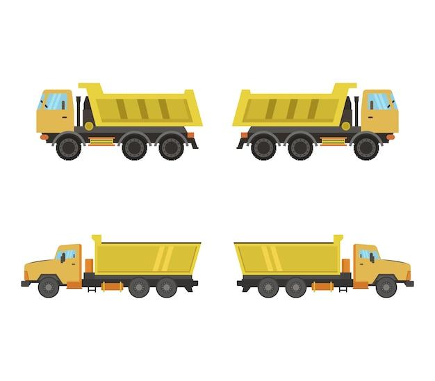 Set gele vrachtwagens