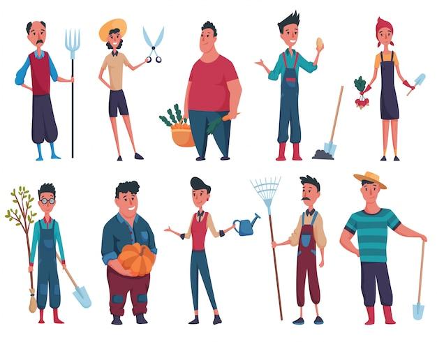 Set gelukkig mans en dames tuinman of boer met schop, boom, hooivork, pompoen, trechter in de hand op een witte achtergrond. ontwerpelementen van een privéboerderij