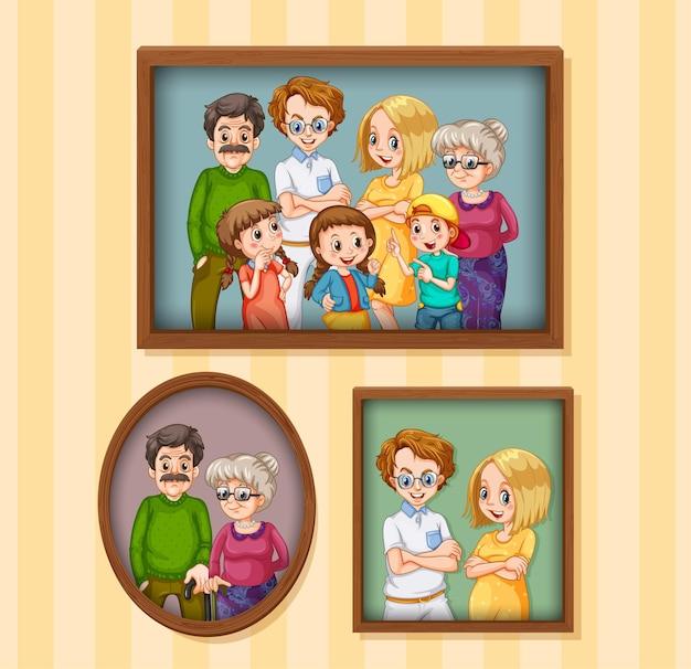 Set gelukkige familiefoto's op het houten frame