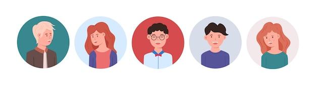 Set gelukkige mensen avatars voor sociale media of website