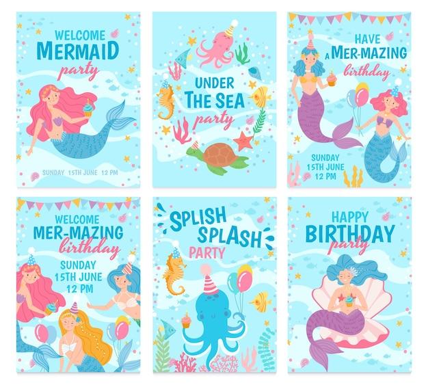 Set gelukkige verjaardagskaarten met zeemeerminnen