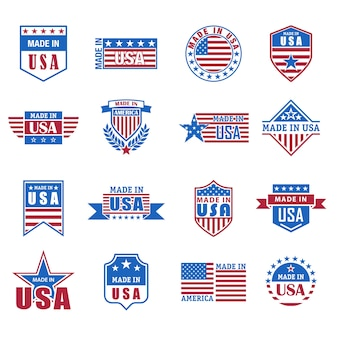 Set gemaakt in de vs pictogram met vlag en sterren