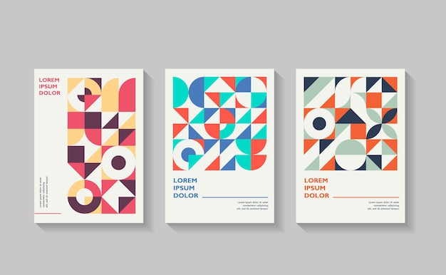 Set geometrische covers verzameling van coole vintage covers