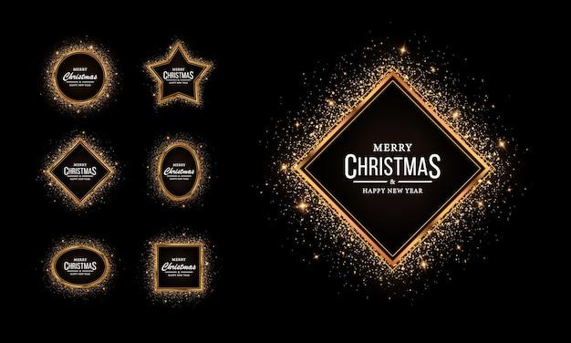Set geometrische glanzende monturen met gloeiende effecten voor kerst gouden monturen met glitter