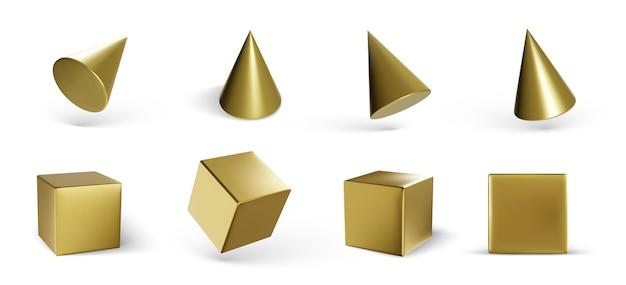 Set geometrische kubussen en kegels geïsoleerd op wit