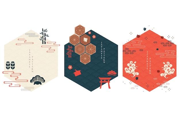 Set geometrische moderne grafische elementen vector. aziatische pictogrammen en symbool met japans patroon. abstracte banners met sjabloon voor logo-ontwerp, flyer of presentatie in vintage stijl.