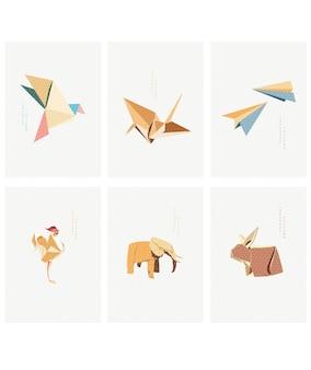 Set geometrische moderne grafische elementen vector. aziatische pictogrammen met japans patroon. origami papier vouwen pictogram. kraanvogels, olifant, konijn, kip en vliegtuigobject.