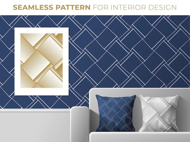 Set geometrische naadloze patronen voor interieur. textuur voor behang, textiel, stof, printontwerp. trendy donkerblauwe en gouden kleuren.
