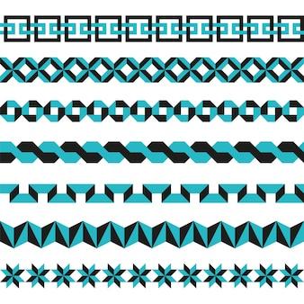 Set geometrische randen in twee kleuren