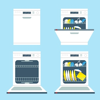 Set geopende en gesloten vaatwasmachines. keukenapparatuur pictogrammen illustratie.
