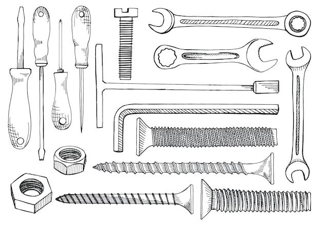 Set gereedschappen en bevestigingsmiddelen. schroevendraaier, moersleutel, moersleutel, inbussleutel, schroef, plug, spijker-expansie-anker, moer. hand getrokken illustratie in schetsstijl.