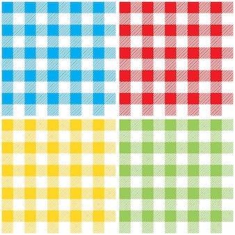 Set geruit kleuren tafelkleed naadloze patroon