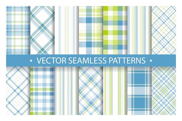 Set geruite patroon naadloos, tartan patronen stof textuur achtergrond, schotse streep deken