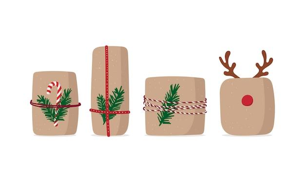 Set geschenkdoos. kerstcadeautjes geïsoleerd