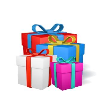 Set geschenkdozen met strik geïsoleerd