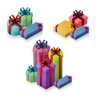 Set geschenkdozen met strikken en linten. isometrische illustratie op witte achtergrond.